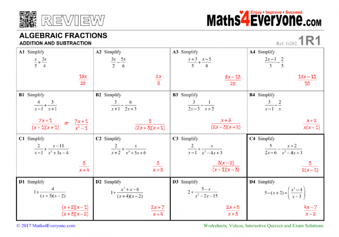 Algebraic Fractions Adding And Subtracting Worksheet For Gcse