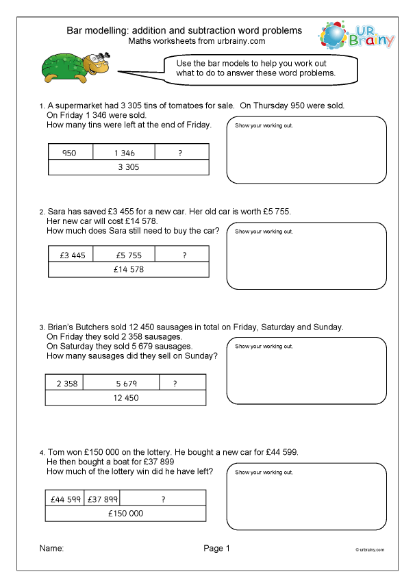 Bar Models With Word Problems