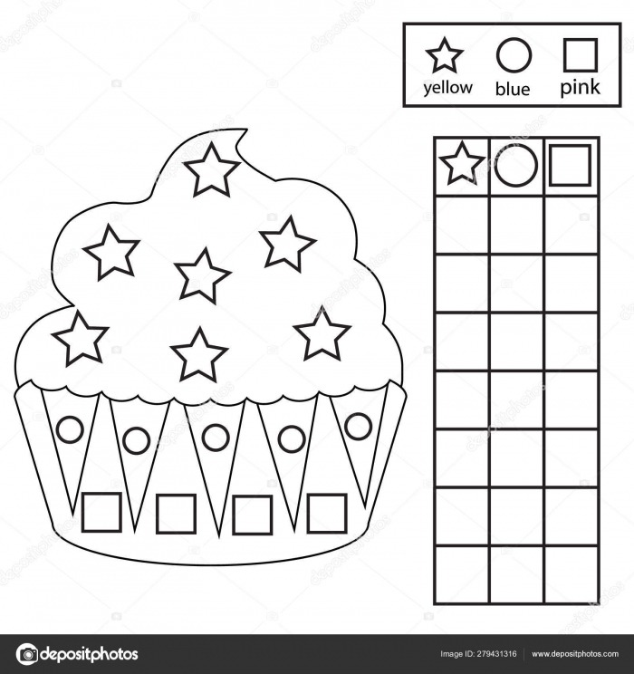 Color  Count And Graph Educational Children Game Color Cupcake