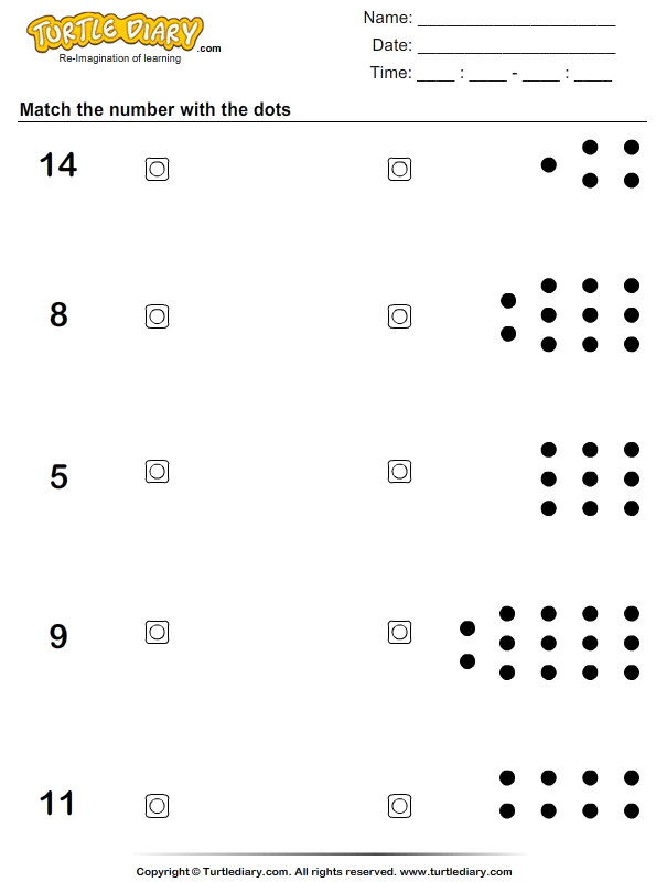Counting Dots On Numbers Worksheets