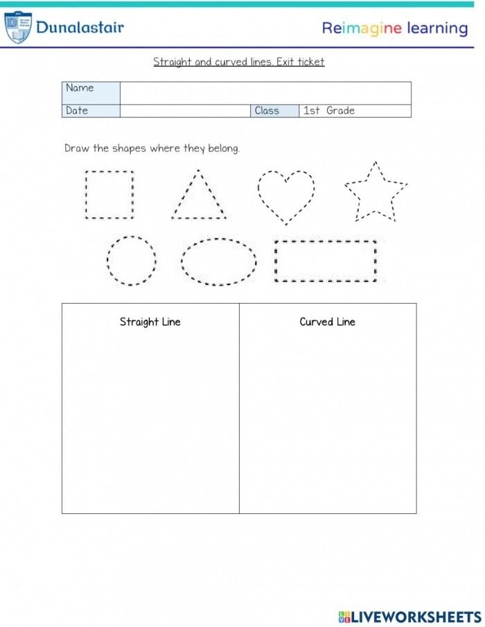 Straight Shapes Worksheets