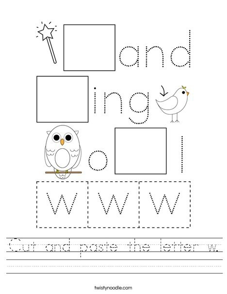 Cut And Paste The Letter W Worksheet