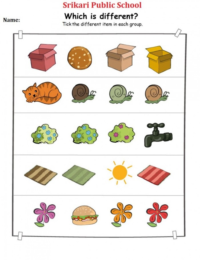 Different Objects Worksheet