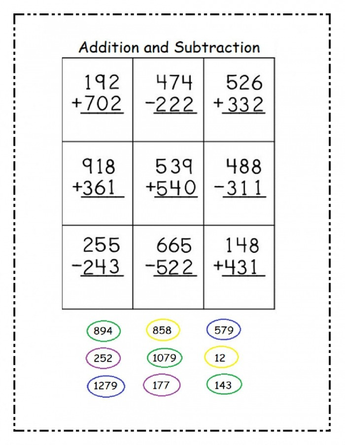 Digit Addition And Subtraction Interactive Worksheet