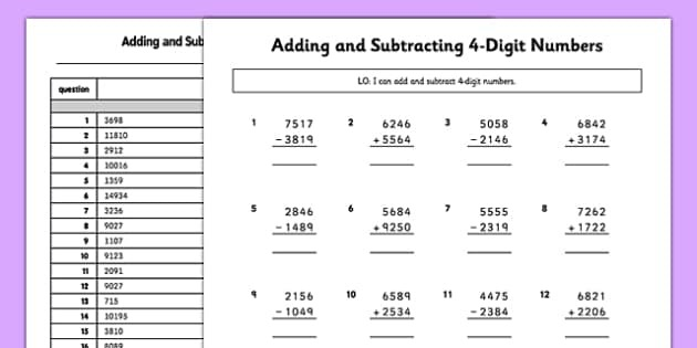 Digit Addition And Subtraction Worksheets