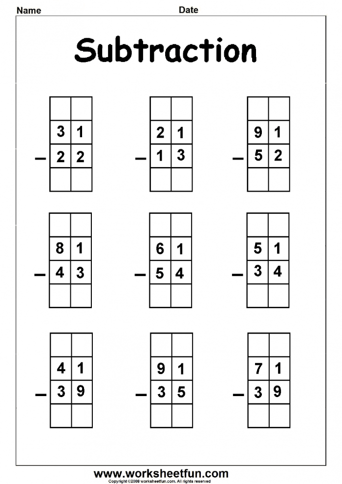 Digit Borrow Subtraction  Regrouping   Worksheets