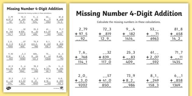 Missing Digits Addition And Subtraction Worksheets