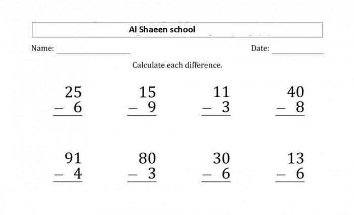 Digit Subtraction  Digit With Regrouping Worksheet