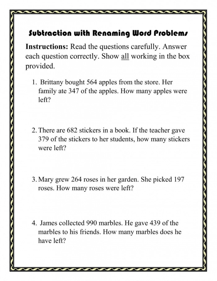 Digit Subtraction With Renaming Word Problems Worksheet