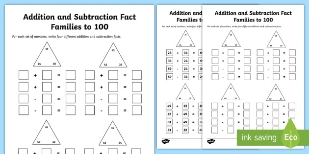 Fact Families Addition And Subtraction To  Worksheet