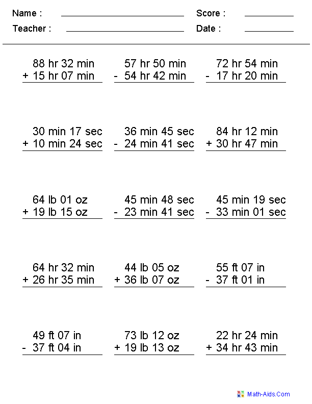Measurement Addition And Subtraction Worksheets