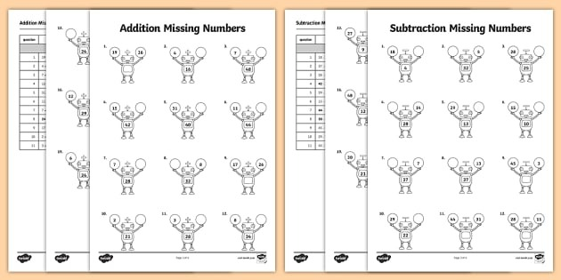 Find The Missing Number In Addition And Subtraction Problems