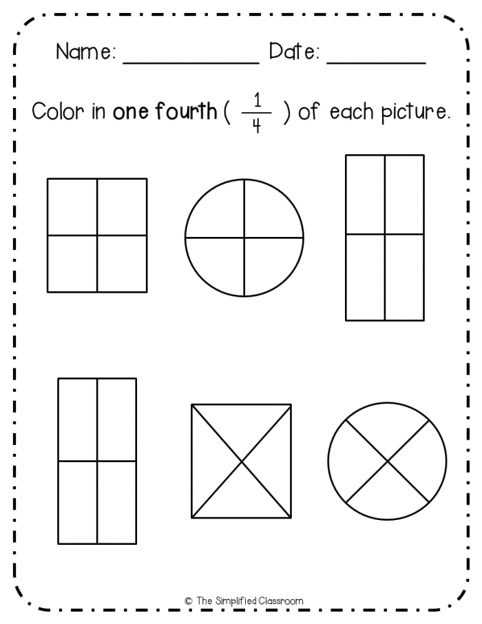 First Grade Fractions Color