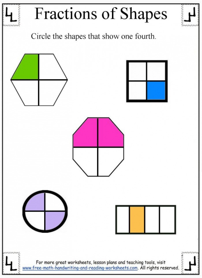 One Fourth Fraction Worksheets