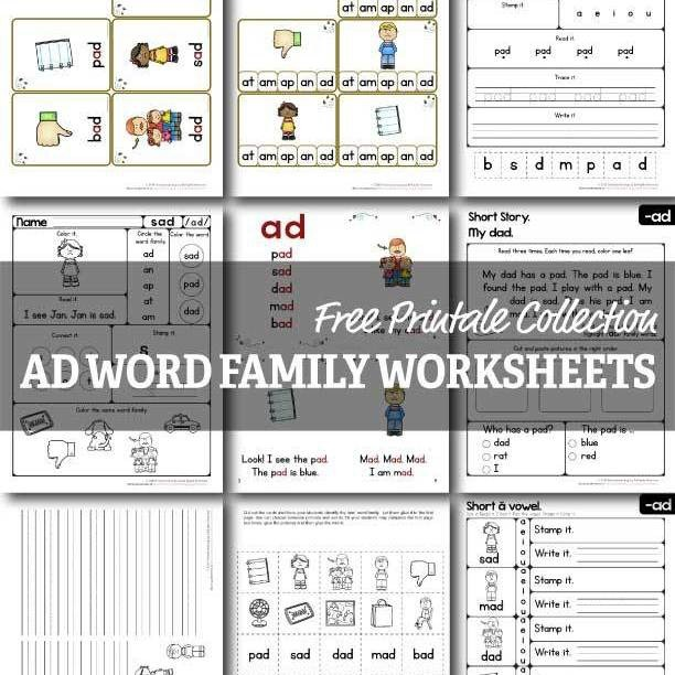 Ad Word Family Worksheets