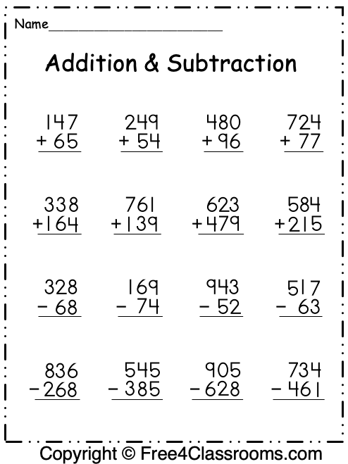 Free Addition And Subtraction Worksheets