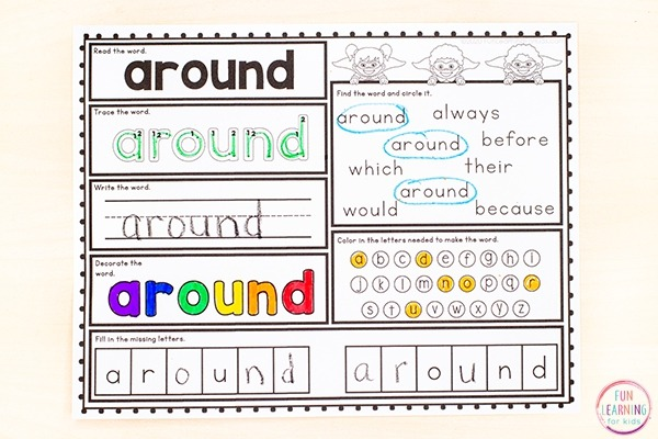 Free Printable Second Grade Sight Word Worksheets