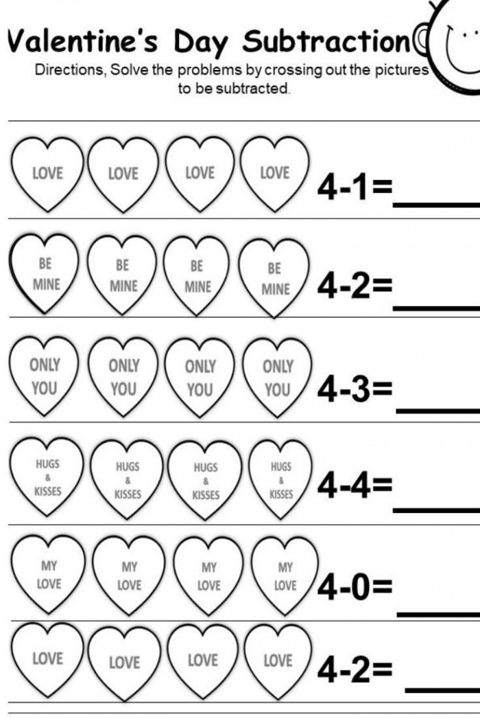 Free Valentines Day Subtraction Printables