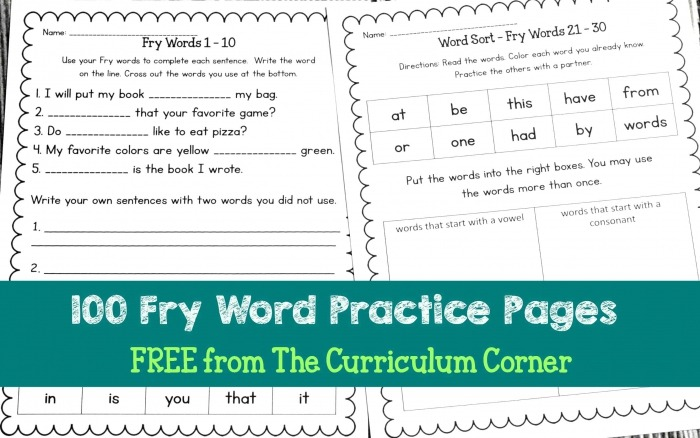 Fry Sight Words Assessment Worksheets