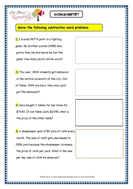 Grade  Maths Worksheets Subtraction  The  And  Digit