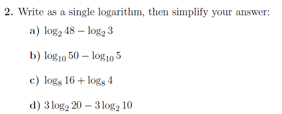 Laws Of Logarithms Worksheet With Solutions