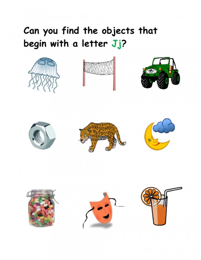 Things That Start With The Letter J Worksheets