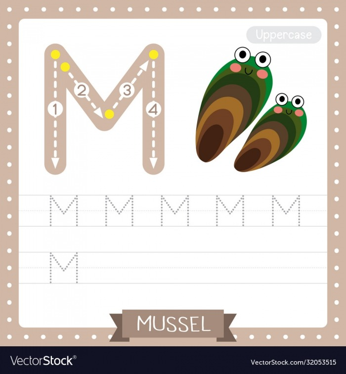 Letter M Uppercase Tracing Practice Worksheet Vector Image