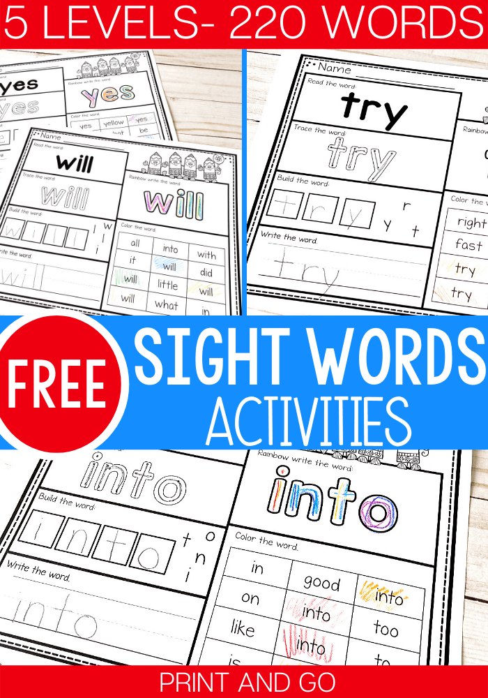 Levels Free Print And Go Sight Word Worksheets