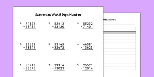 Long Subtraction Worksheets With