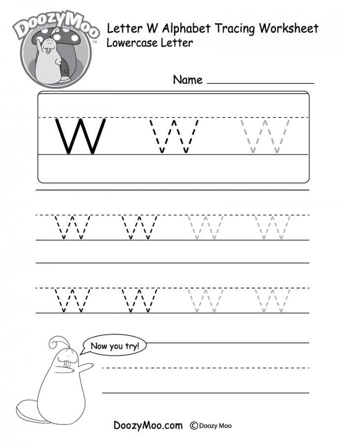 Lowercase Letter W Tracing Worksheet