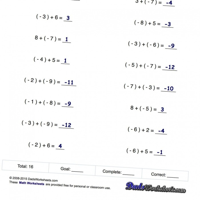 Math Worksheets Negative Numbers