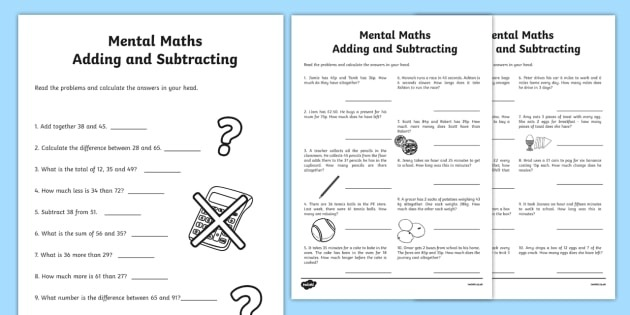 Mental Math Addition And Subtraction Worksheets