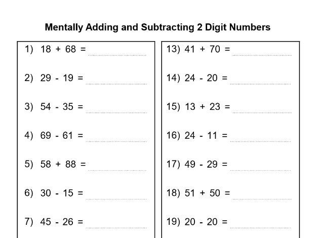 Mentally Adding And Subtracting  Digit Numbers