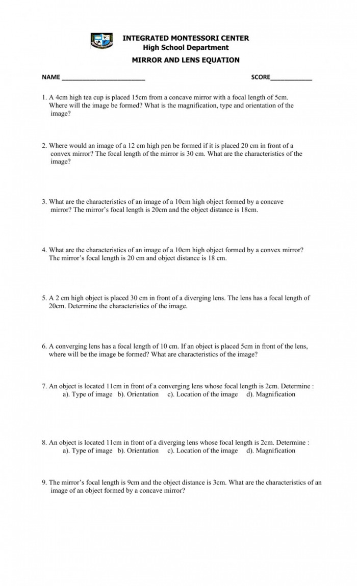 Mirror And Lens Equation Worksheet