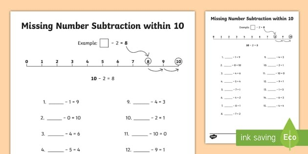 Missing Number Subtraction Within  Worksheet