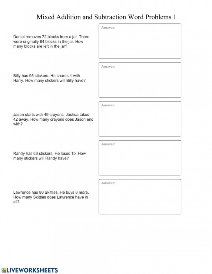 Mixed Addition And Subtraction Word Problems  Worksheet