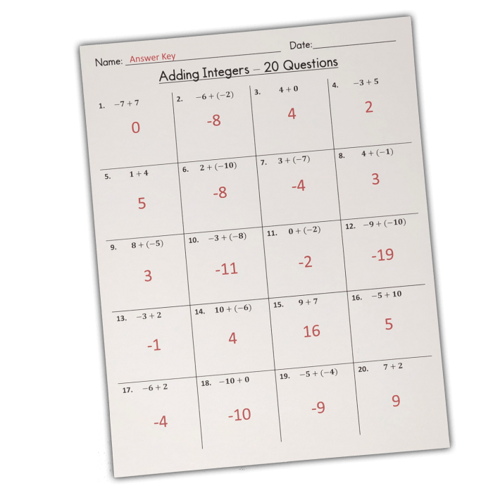 Adding Integers Worksheet With Answers