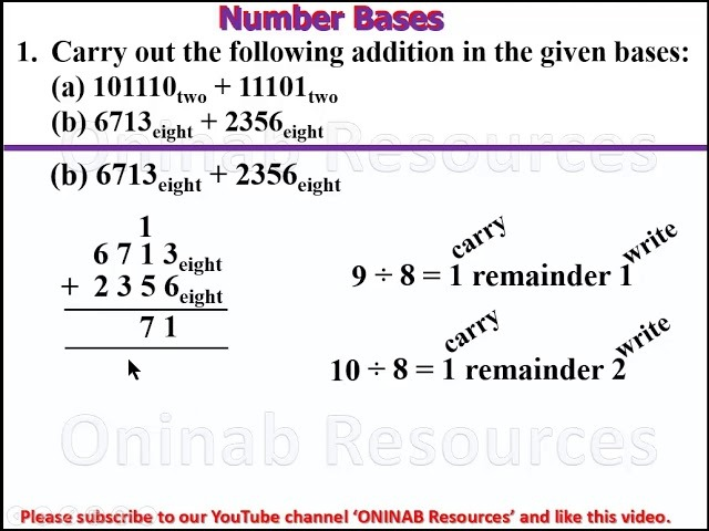Number Bases Addition And Subtraction