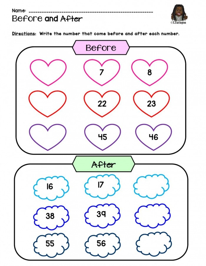 Numbers Before   After Worksheet