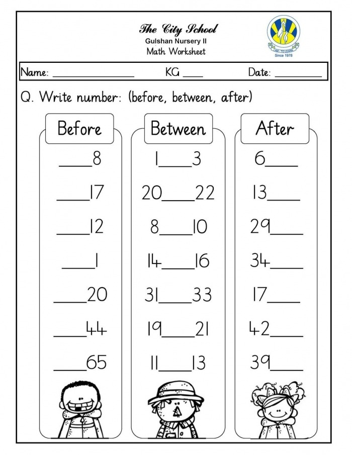 Numbers Before  After  And Between  Free Printable Worksheets