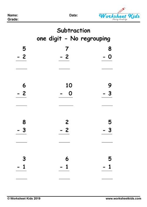 One Digit Subtraction No Regrouping Worksheets