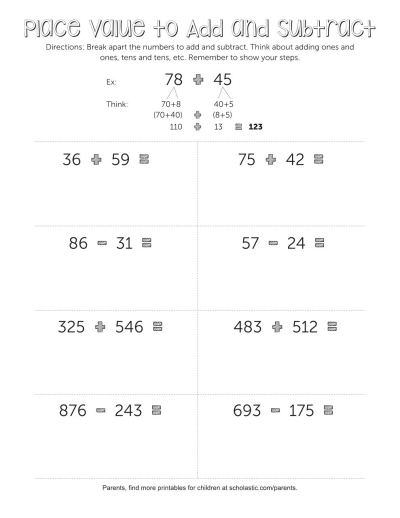 Place Value Subtraction Worksheets