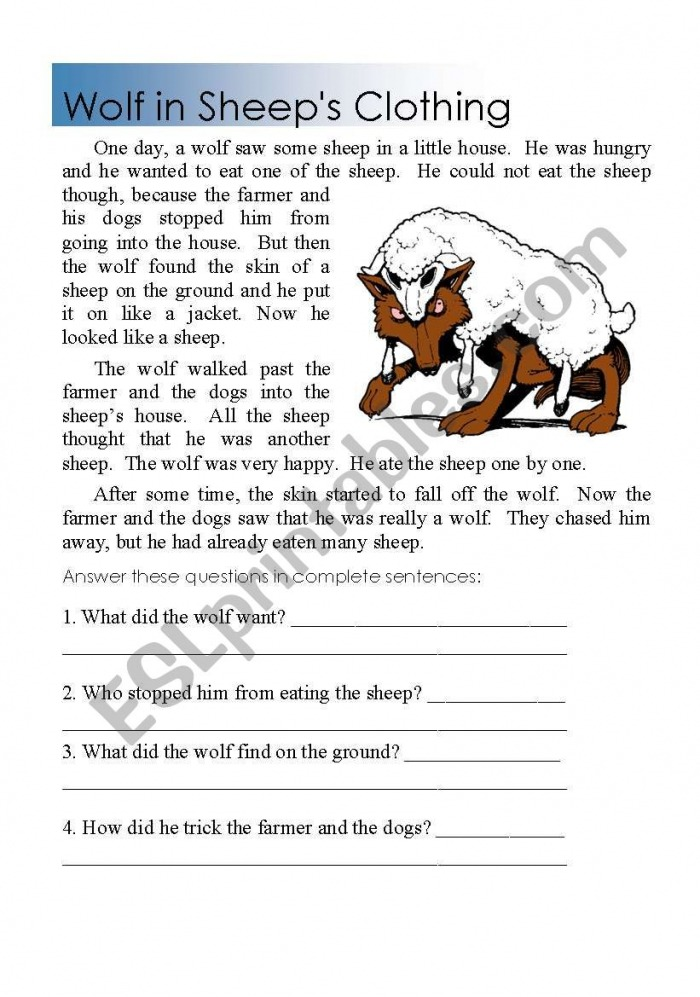Reading Comprehension Wolf In Sheeps Clothing