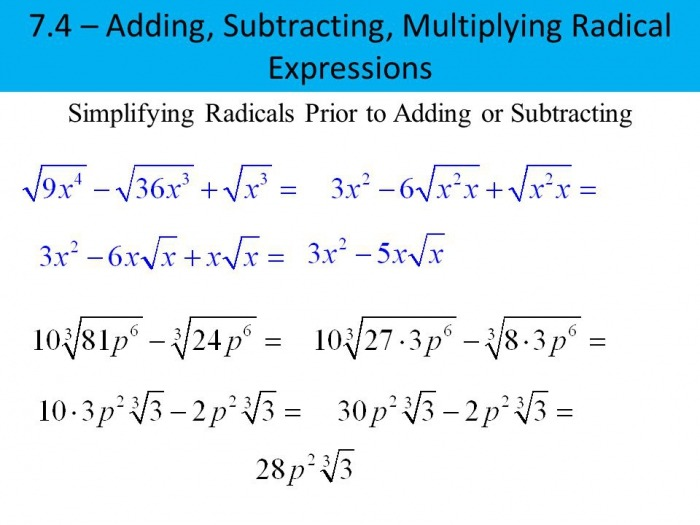 Adding Subtracting And Multiplying Radicals