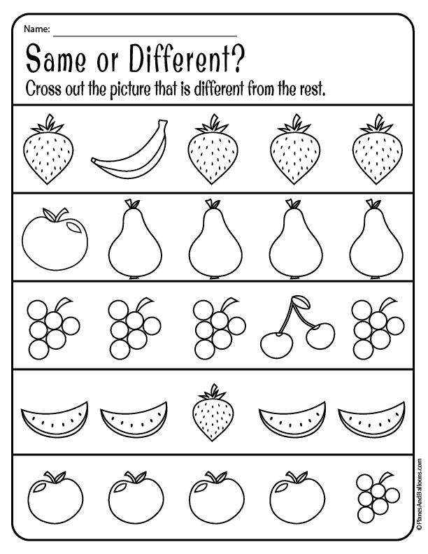Same And Different Worksheets For Preschool Free Download