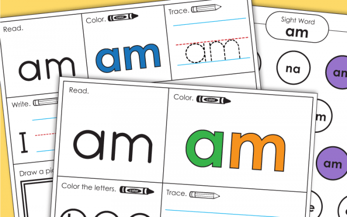Sight Word Am Worksheets