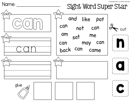 Sight Word Can Worksheets