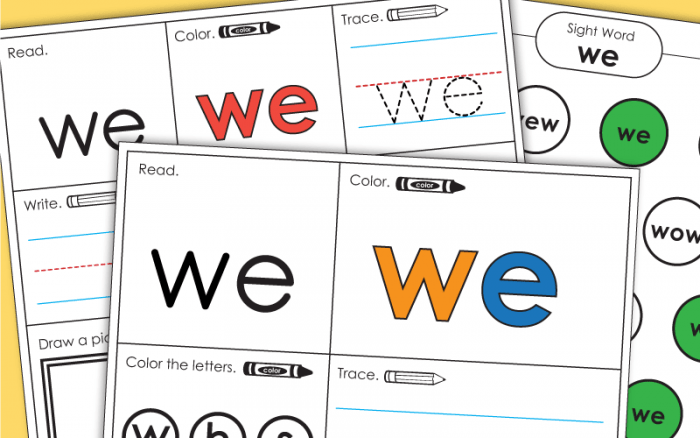Sight Word We Worksheets