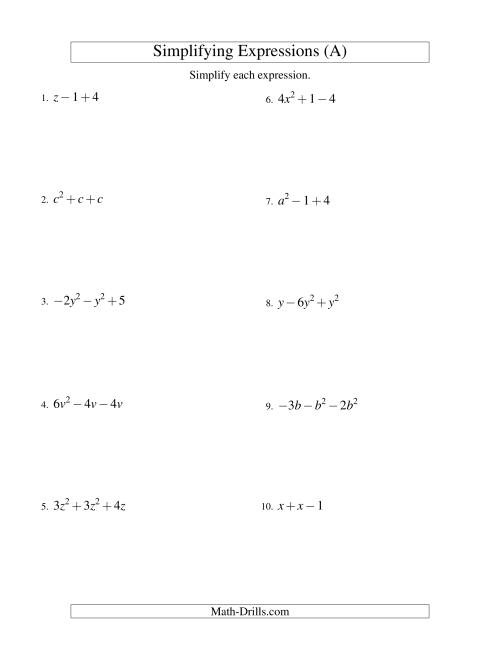 Simplifying Algebraic Expressions With One Variable And Three