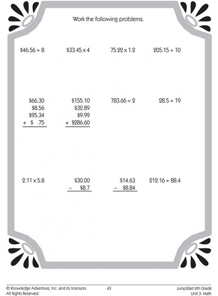 Decimal Addition Subtraction Multiplication And Division Worksheets